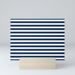 Slate blue and White Thin Stripes - Navy Nautical Pattern Mini Art Print