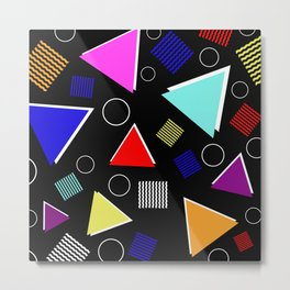 Fun Retro - Triangles, rings and waves patterned design, blue, red, purple, pink, yellow Metal Print