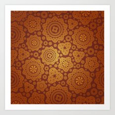 Warm Gold Paisley Pattern Art Print