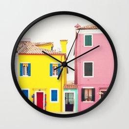Get Happy - Burano Italy Travel Photography Wall Clock