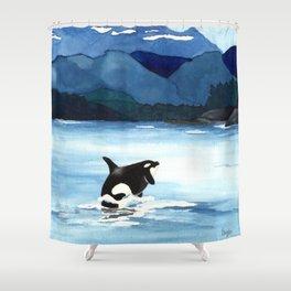 Orca Breach Shower Curtain