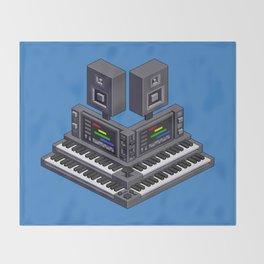 Electronic music altar — isometric pixel art Throw Blanket