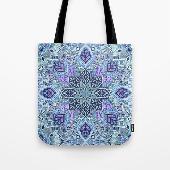 Navy Blue, Mint and Purple Boho Pattern  Tote Bag