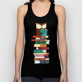 Owl Reading Rainbow Unisex Tank Top