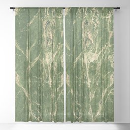 Green abstract grunge marble Sheer Curtain