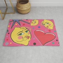 pop art angsty lemons fruit Rug