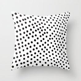 Warped Black Polka Dot Rain Throw Pillow
