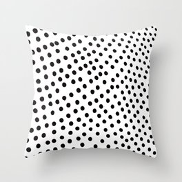Warped Black Polka Dot Rain Throw Pillow
