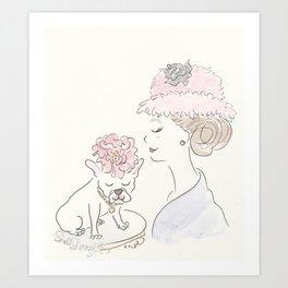 French Bulldog Flower Power : Fashion and Fluffballs Art Print