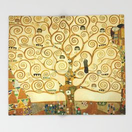 Gustav Klimt The Tree Of Life Throw Blanket