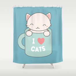 Kawaii Cute I Love Cats Shower Curtain
