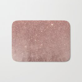 Girly Glam Pink Rose Gold Foil and Glitter Mesh Bath Mat
