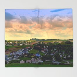 Beautiful village skyline beyond cloudy sky | landscape photography Throw Blanket