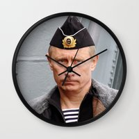 putin Wall Clocks featuring Putin seaman. by Mikhail Zhirnov