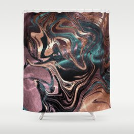 Metallic Rose Gold Marble Swirl Shower Curtain
