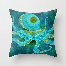 Beachy Art - Mandala Octopus - Sharon Cummings Throw Pillow