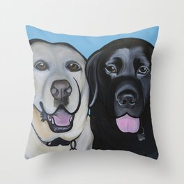 Indie & Daisy the labs Throw Pillow