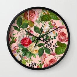 Vintage Botanical, Blush Floral Rose Illustration, Nature Plants Bohemian Painting, Royal Garden Wall Clock