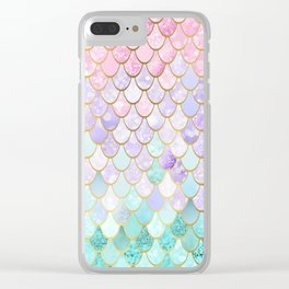 Iridescent Mermaid Pastel and Gold Clear iPhone Case