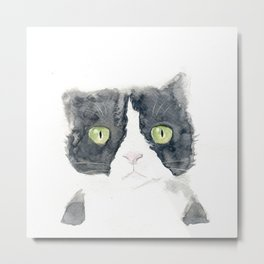 Thinking Cat Metal Print