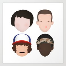 Mike, Eleven, Dustin and Lucas - Stranger Things Art Print
