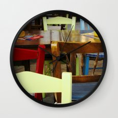 Colorful summer chairs Wall Clock