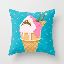 Sharks and Icecream Throw Pillow