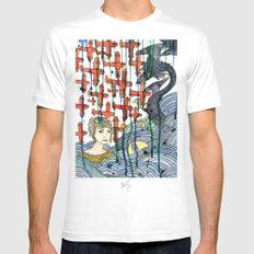 Sea Monster White Mens Fitted Tee MEDIUM