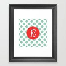 Monogram Initial R Polka Dot Framed Art Print