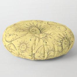 Yellow Magic Celestial Sun Moon Stars Floor Pillow