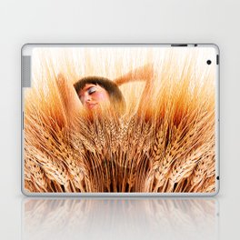 Woman In Wheat Field Laptop & iPad Skin