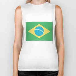 Flag of Brazil. The slit in the paper with shadows. Biker Tank