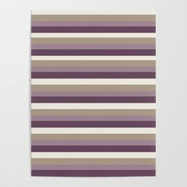 Stripes in Magenta, Lavender and Cream Poster