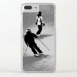 Skiing and Snowboarding Winter Fun Clear iPhone Case