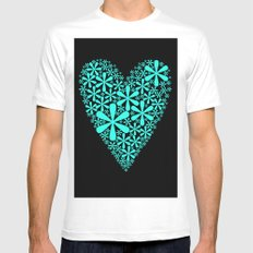 asterisk heart MEDIUM White Mens Fitted Tee