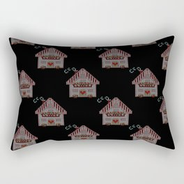 Cute little house cross stitch - black Rectangular Pillow