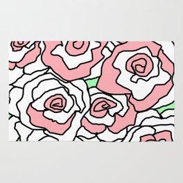 Doodle Art Flower Roses - White Pink Shabby Chic Rug