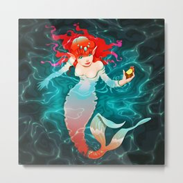 Mermaid in the water with a piece of gold. Metal Print