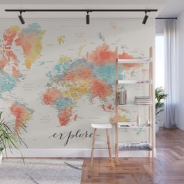 """""""Explore"""" - Colorful watercolor world map with cities Wall Mural"""