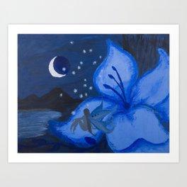 Blue Night Fairy Art Print