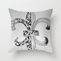 fleur de lis Throw Pillows featuring Fleur De Lis - Drawing by neena
