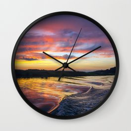 Sunset on the Warwick River Wall Clock