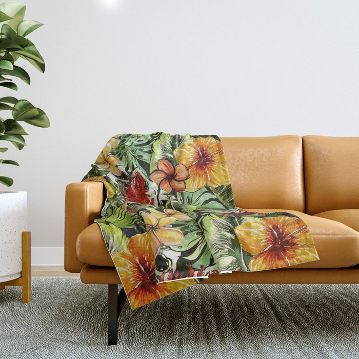 Tropical Vintage Exotic Jungle Flower Flowers - Floral watercolor pattern Throw Blanket