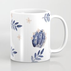 Blue Cactus Floral Pattern Mug