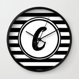 C Striped Monogram Letter Wall Clock
