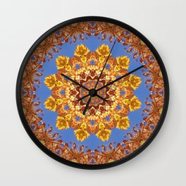 Orange chakra Print, home Meditation art Positive Energy Intention Symbol, Mandala yoga studio leaf Wall Clock