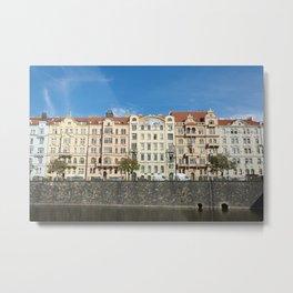 Old buildings on Vltava River, in Prague, Czech Republic Metal Print