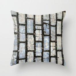 Blue Street Grid Throw Pillow
