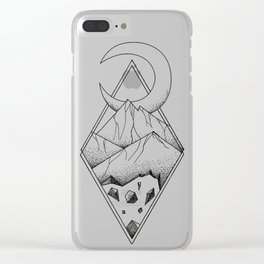Geometric mountain in a diamonds with moon (tattoo style - black and white) Clear iPhone Case