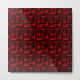 Cubes of red rhombuses and black strict triangles. Metal Print